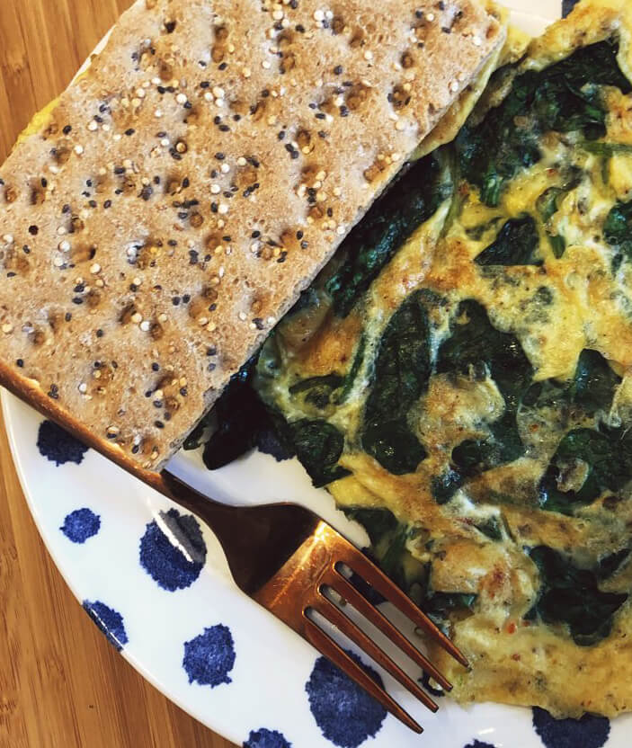 Spicy spinach omelet