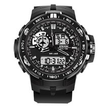 ETEVON Men_s 'Air Force_ Soft Big Face Analog Digital Watch Dual Time Waterproof