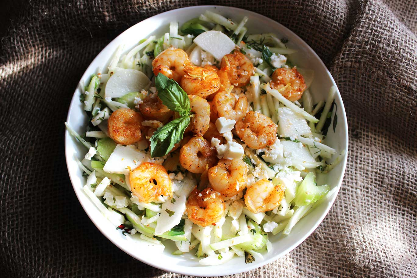 Shrimp Apple Fennel and Daikon Salad Recipe
