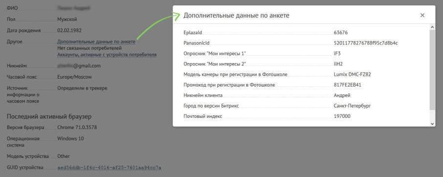 В профиле клиента, собранном в Mindbox, отображаются известные личные данные клиента