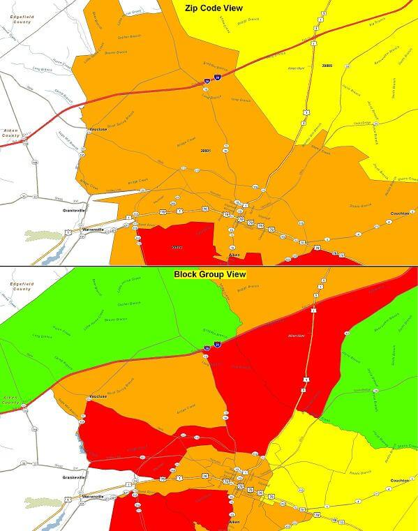 Zip Code vs. Block Group Heat Map Views