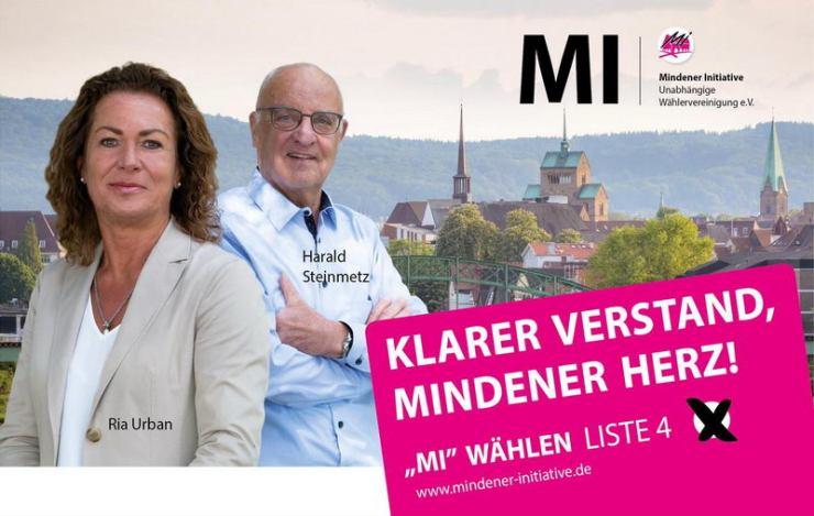 Ria Urban und Harald Steinmetz führen auf den Plätzen zwei und eins die Reserveliste der Unabhängigen Wählervereinigung Mindener Initiative (MI) bei der Kommunalwahl am 13. September 2020 in Minden an. Foto: MI