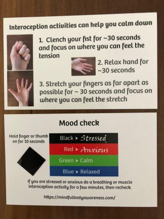 stress / mood card with interoception activity