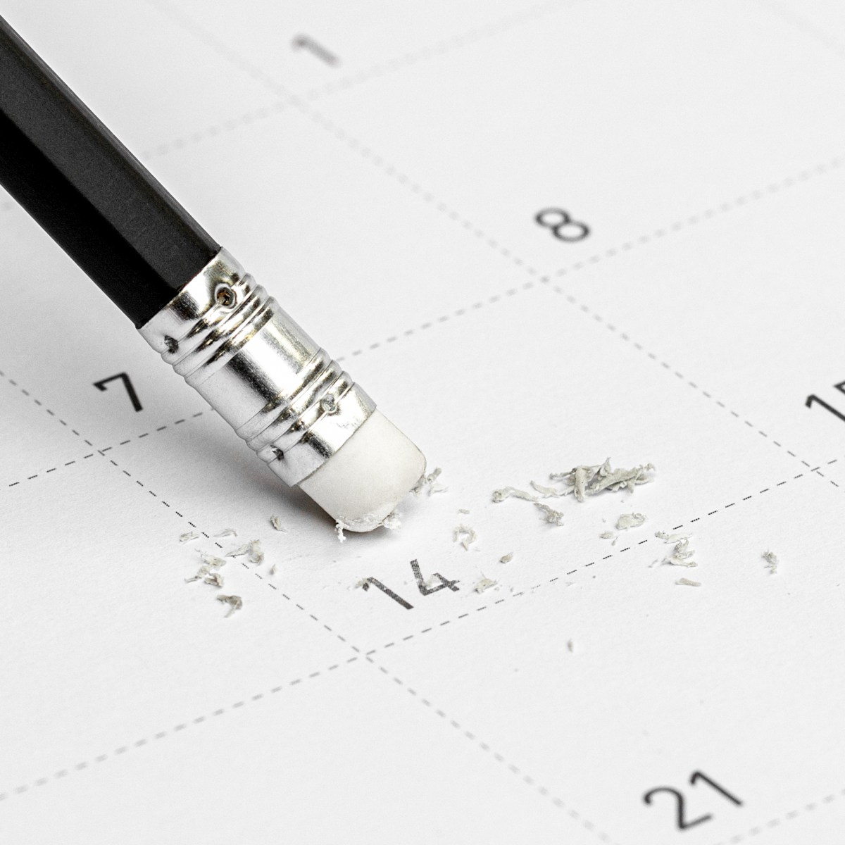 pencil erasing item on calendar