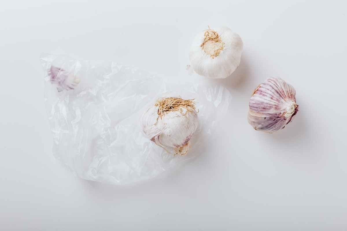 three garlic bulbs