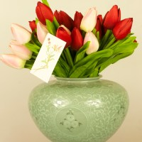 Celadon Ceramics, Dutch Tulips, Designed Cards, and Wooden Cardettes