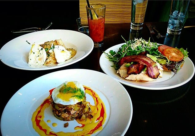 The Zietgeist restaurant featuring smoked salmon hash and a croque monsieur breakfast sandwich. The restaurant is also connected to a nearby cinema.