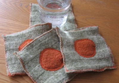 drink coasters made from felted wool sweaters www.mindfulmomma.com