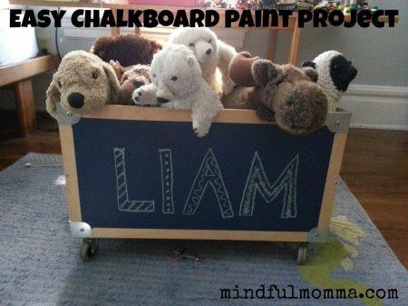 Lullaby Paints chalkboard paint toy box via mindfulmomma.com