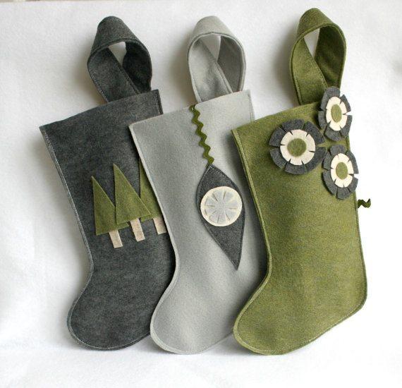 Handmade Xmas stockings via rikrak on Etsy