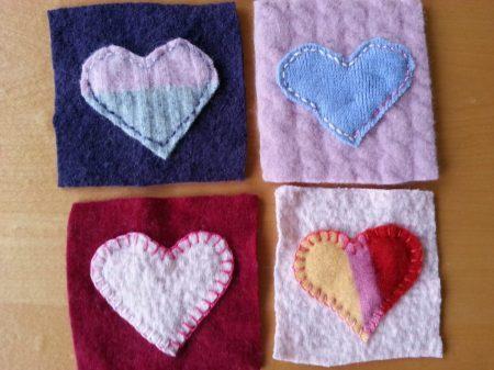 felted hearts via mindfulmomma.com