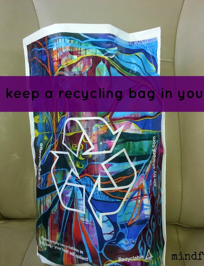 Easy Eco Tip: Keep a Recycling Bag in Your Car via mindfulmomma.com