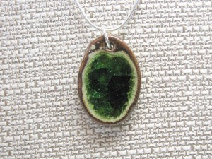 Recycled glass and pottery necklace