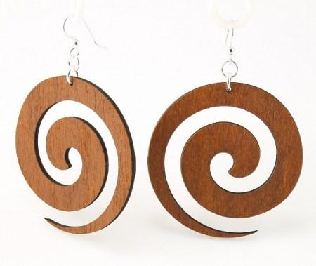 Recycled Wood Tribal Swirl Earrings // www.mindfulmomma.com