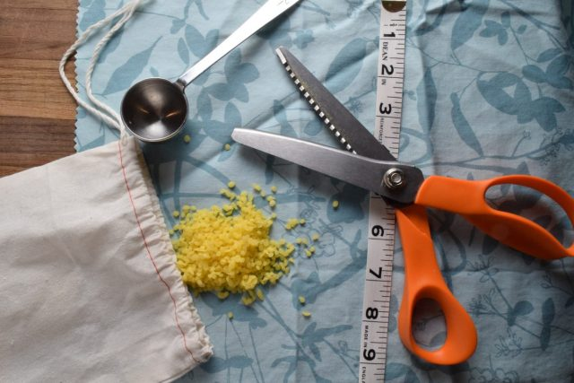 DIY Beeswax Wraps - supplies - scissors, measuring tape, beeswax, cloth