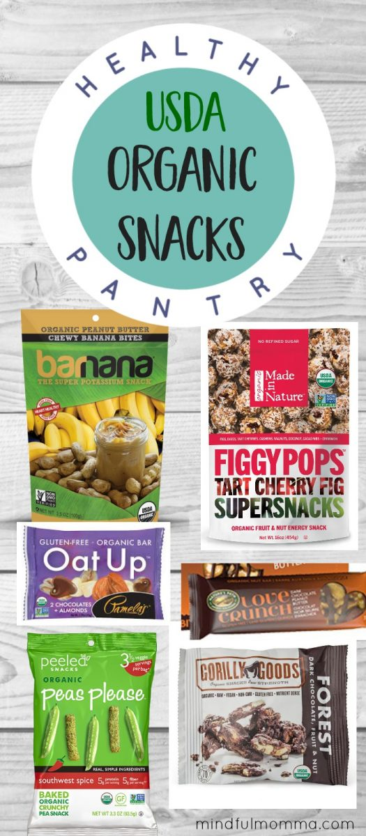 A roundup of certified organic snacks that are not only healthy and delicious but perfect for on-the-go snacking and school lunches. | healthy lunchbox | organic food | snack foods #organic via @MindfulMomma