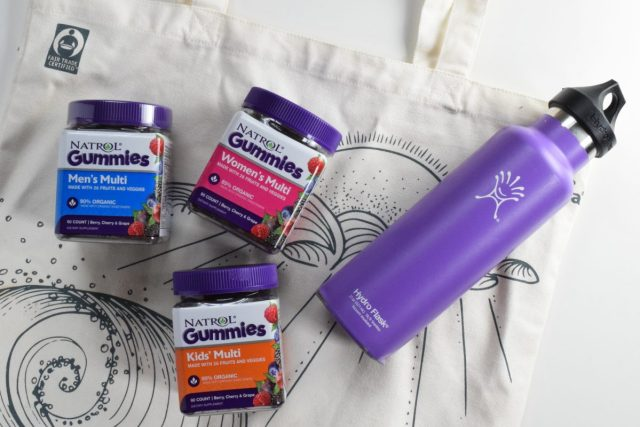 Natrol Gummies with water bottle and canvas bag