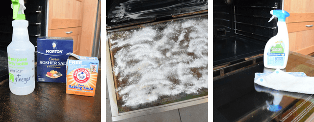 Baking soda, vinegar and other supplies used for DIY non-toxic oven cleaning