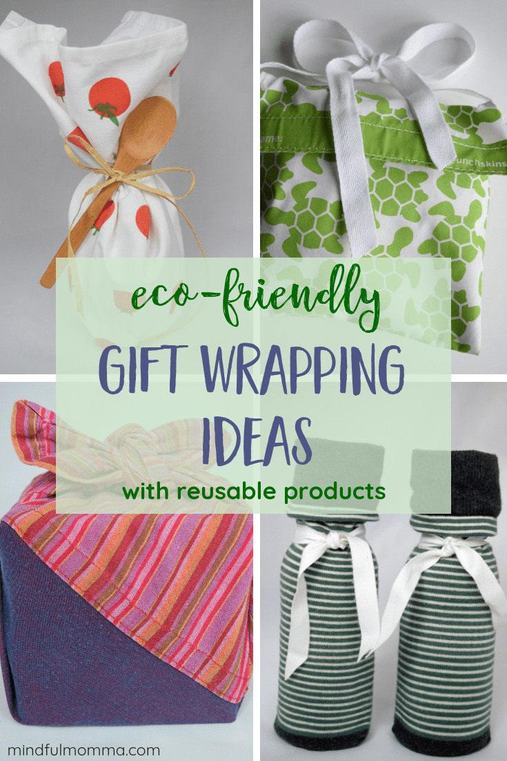 Eco-friendly gift wrap ideas using reusable items like dishtowels, scarves, reusable bags and napkins instead of wasteful wrapping paper. #giftwrap #Christmas #reusable #zerowaste #ecofriendly via @MindfulMomma