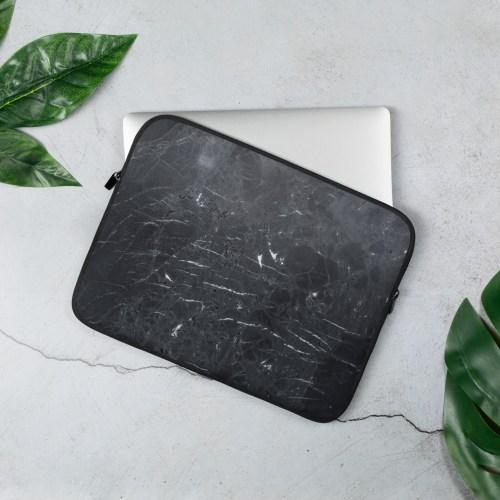 Zwarte Marmeren Laptop Sleeve
