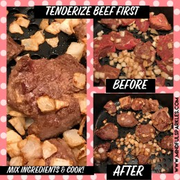 Tenderize the beef before cooking.
