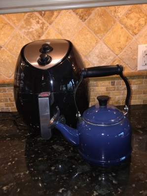 Size comparison to a small tea kettle