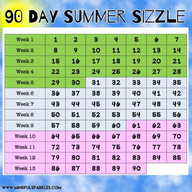 90 Day Summer Sizzle 90 Day Small Grid - Ideal for Digital Tracking