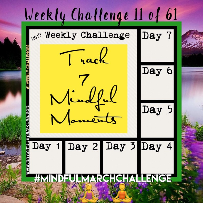 The Mindful March Challenge is challenge 11 of 61 from my year of personal weekly challenges.  Use this chart to track 7 mindful moments this week or this month.  Mindfulness leads to increased awareness, positivity, and gratitude.