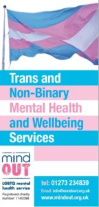 blue, pink and white cover of a the MindOut Trans and Non-binary mental health services leaflet