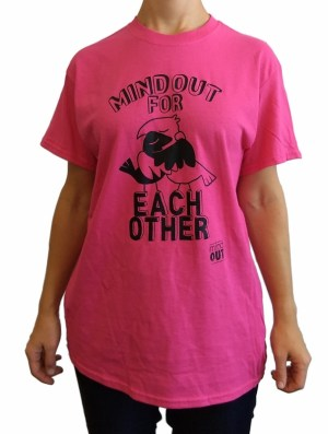 figure wearing pink tshirt with black birds design