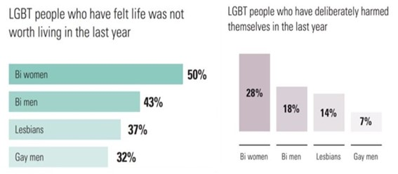 bar graphs from stonewall 2018 showing statistics for lgbt people who felt life was not worth living last year and lgbt people who have deliberately harmed themselves in the last year