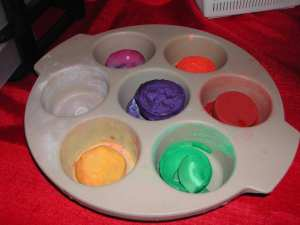Muffin tins can hold paint for those touch up jobs around the house.