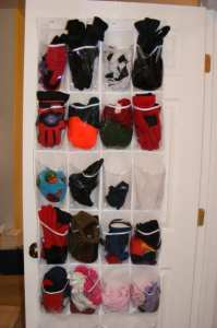 Use a shoe organizer for hats baseball caps gloves sunglasses