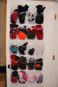 Use a shoe organizer for hats baseball caps gloves sunglasses