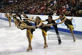 A group of 4 skaters ding a spiral