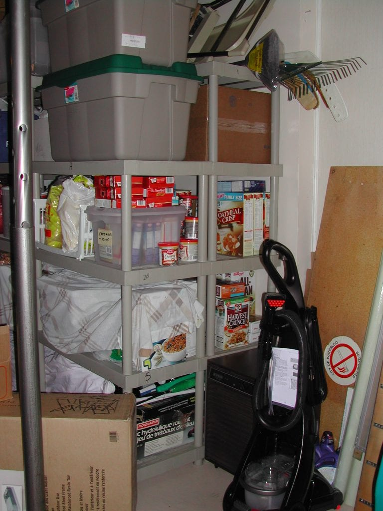 Secure 2 shelves together to make a place for storing large items