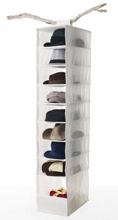 Use a shoe organzer to hold hats in the closet