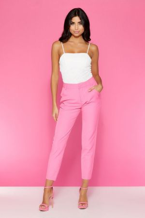 Quiz Clothing Pink Ankle Trousers