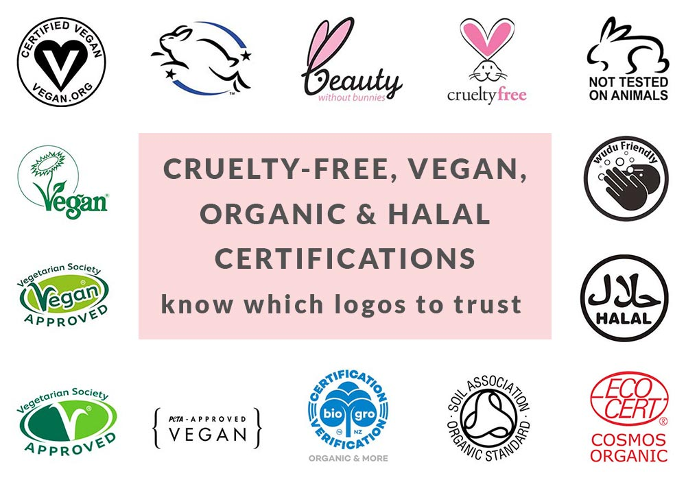 Vegan, Organic, Halal Cruelty-Free Certification Logos