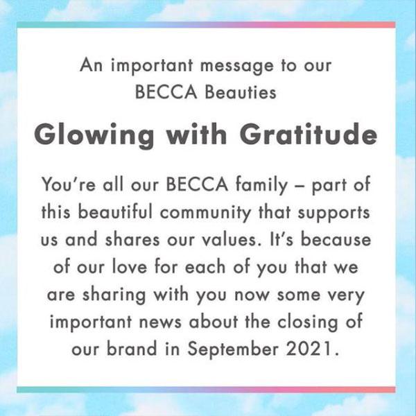 BECCA Cosmetics Closing Sale BECCA Closing