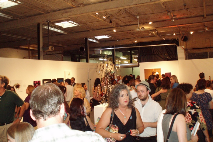 crowd at art of science exhibit