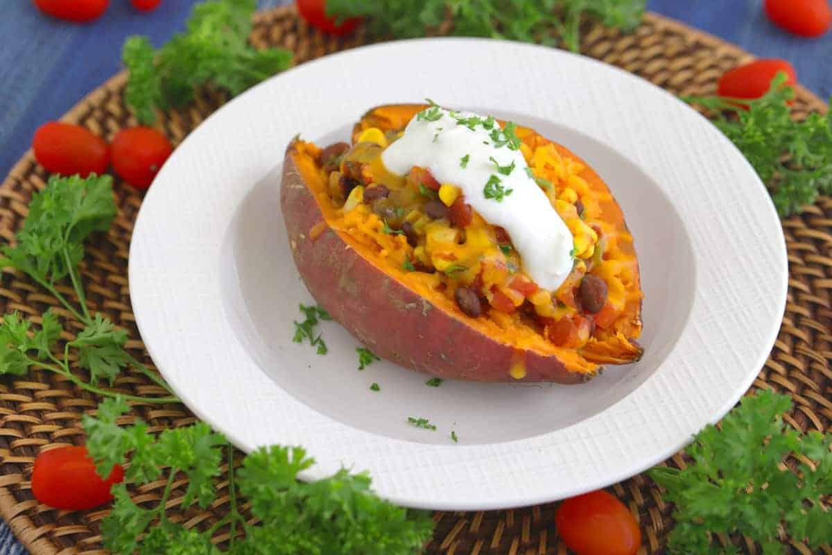 vegetarian taco stuffed sweet potatoes