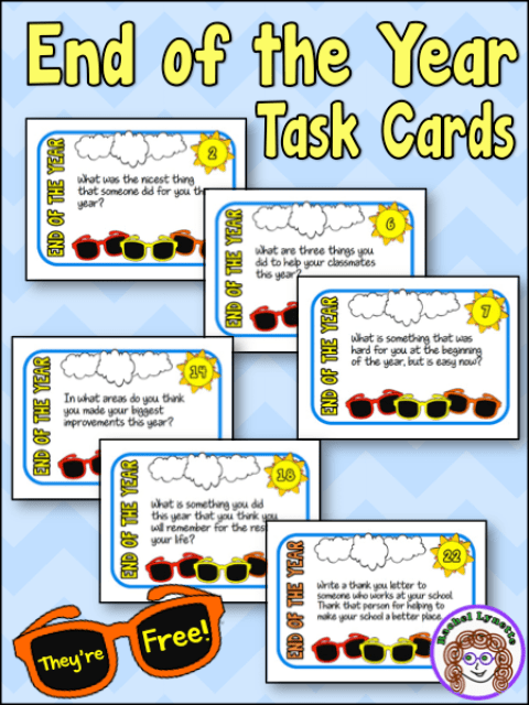 Keep your students thinking and discussing right up until the very last day of school with these End of the Year Task Cards! There are 20 prompts that you can use for writing or discussion, and then there are four bonus prompts! The best part? This task card set is free! Grab yours via the link in this post!