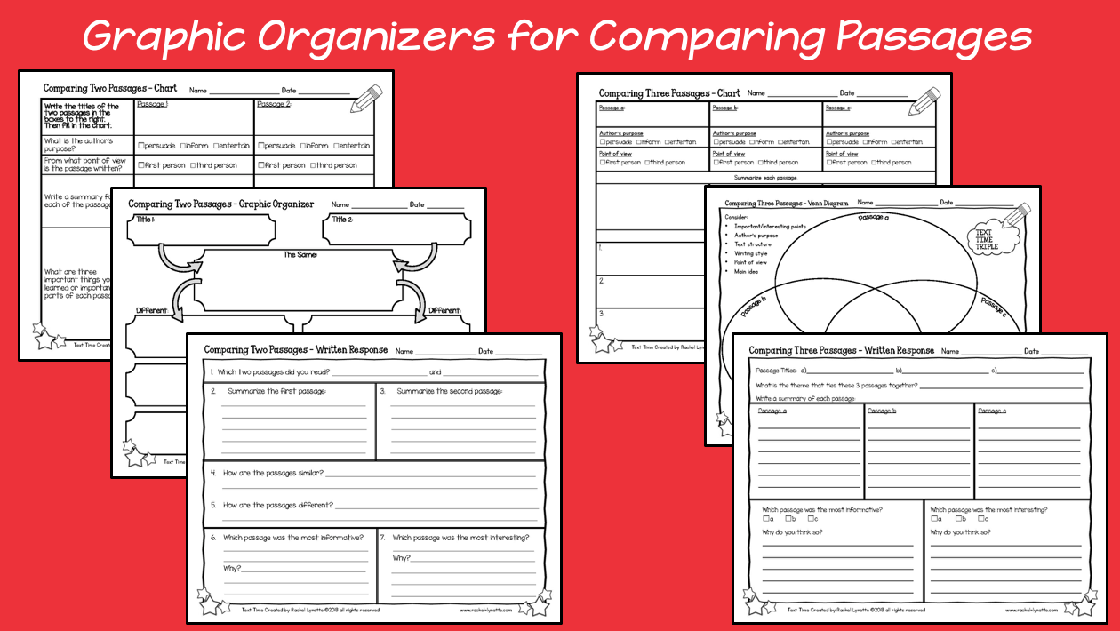 Graphic organizers to compare and contrast paired or multiple passages