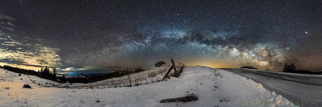 Snowy Panorama beneath Milky Way