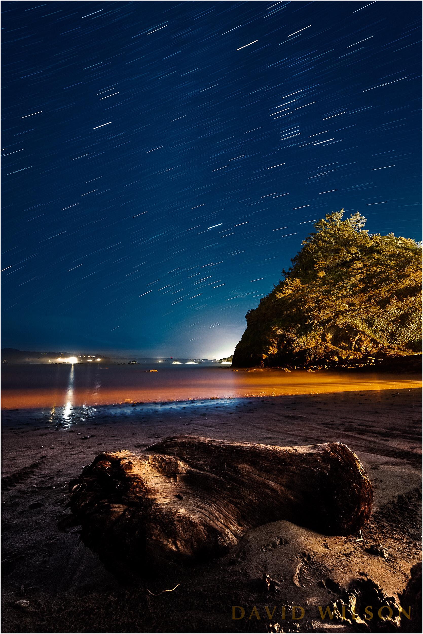 Star trails above Boat Launch Beach, Trinidad, California.