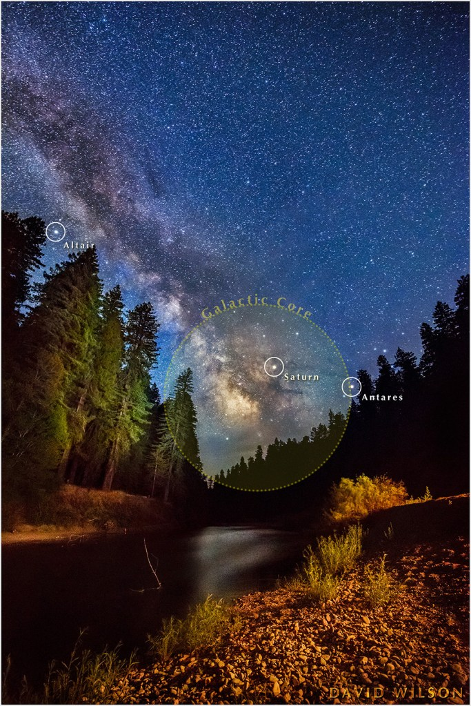 Milky Way over Eel River with planets and stars labeled.
