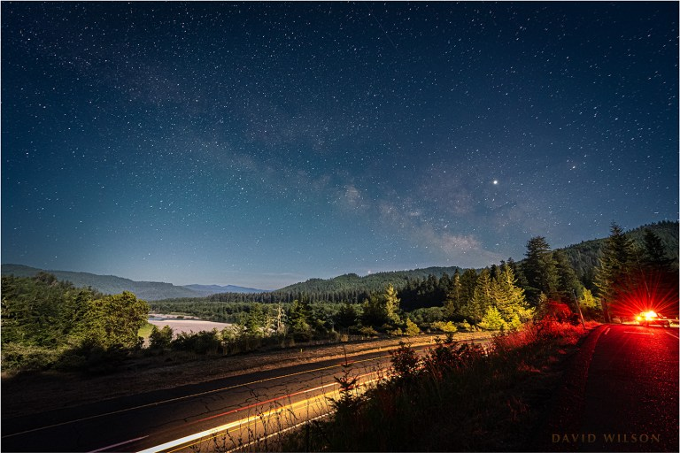 View over US 101 and Eel River valley beneath the stars