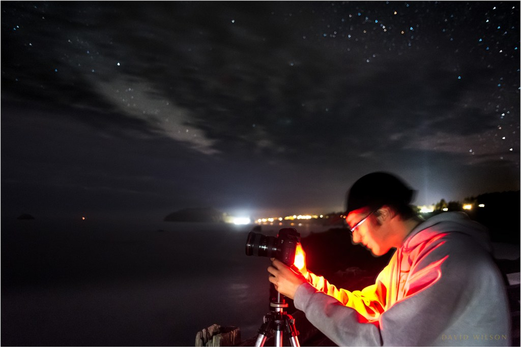 Jake making a nighttime photograph along the Humboldt coast