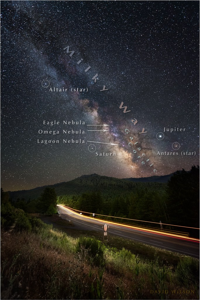 Streaks of car lights illuminate US 101 Redwood Highway beneath the Milky Way, with annotated stars.
